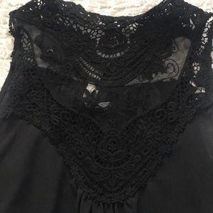 High neck black lace chiffon top boho style